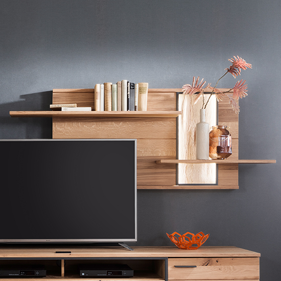 Campinas LED Wooden Wall Shelving Unit In Knotty Oak