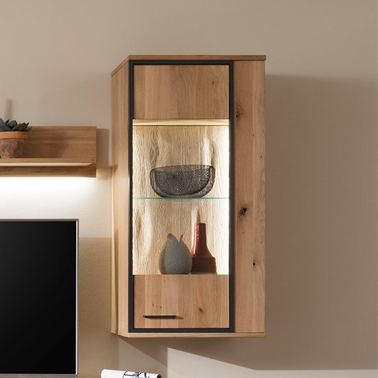 Campinas LED Wooden Wall Unit In Knotty Oak With 1 Door