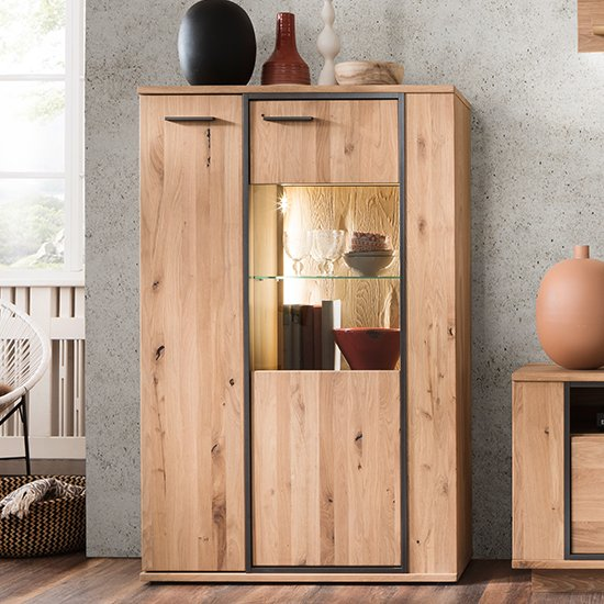 Campinas Small LED Highboard In Knotty Oak With 2 Doors