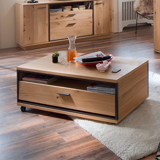 Campinas Wooden Coffee Table In Knotty Oak With 1 Drawer