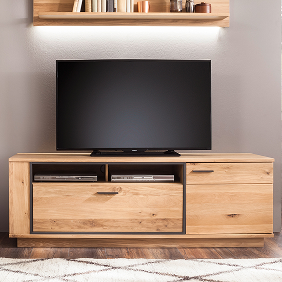 Product photograph showing Campinas Wooden Tv Stand In Knotty Oak With 1 Door 1 Drawer