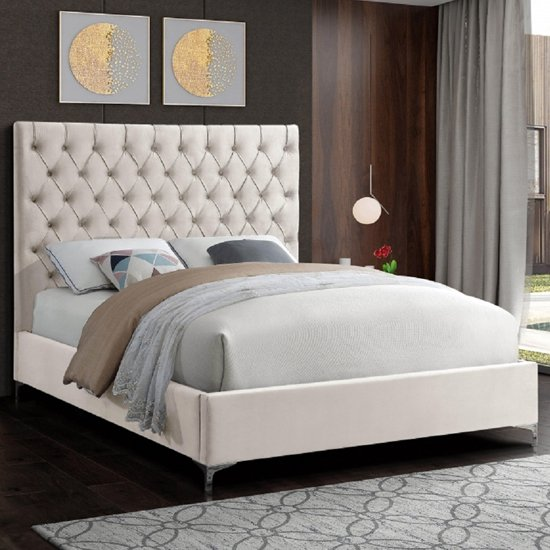 Campione Plush Velvet Upholstered Small Double Bed In Cream