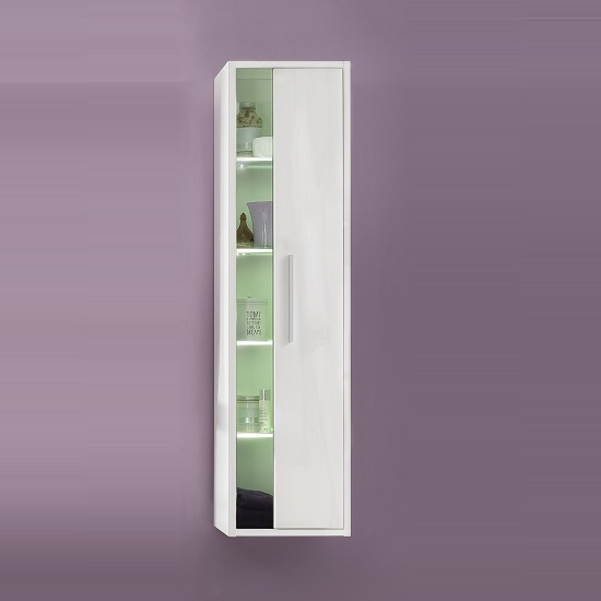 Campus Wall Mounted Bathroom Cabinet In High Gloss Front And LED