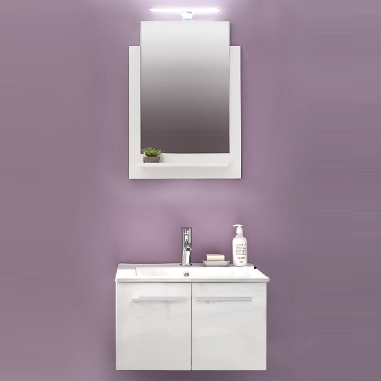 Campus Bathroom Set 1 In White With Gloss Fronts And LED Light_2