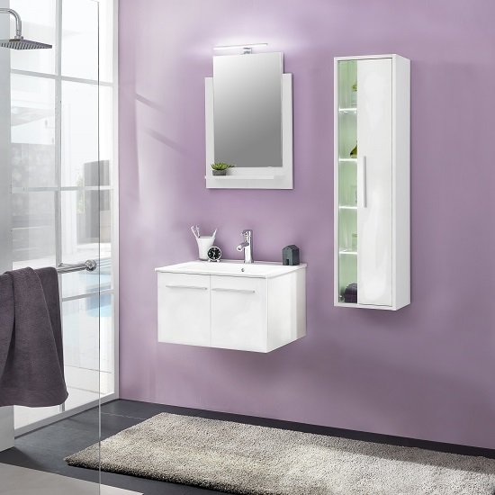 Campus Bathroom Set 2 In White With Gloss Fronts And LED