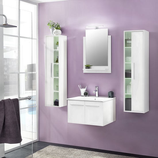 Campus Bathroom Set 3 In White With Gloss Fronts And LED