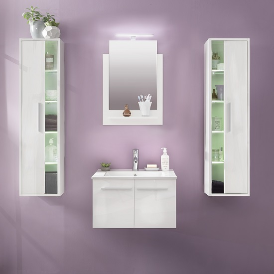 Campus Bathroom Set 3 In White With Gloss Fronts And LED_2