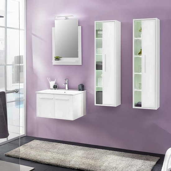 Campus Bathroom Set 3 In White With Gloss Fronts And LED_3