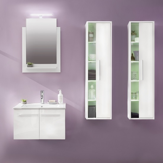 Campus Bathroom Set 3 In White With Gloss Fronts And LED_4