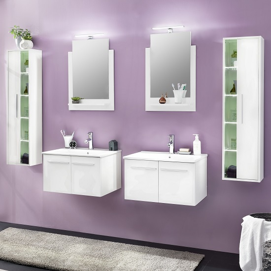Read more about Campus bathroom set 4 in white with high gloss fronts and led