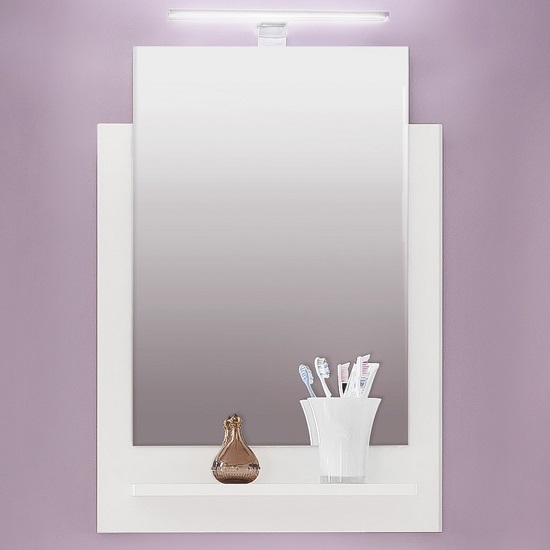 Read more about Campus wall mirror with shelf in high gloss fronts and led