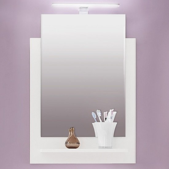 Campus Wall Mirror With Shelf In High Gloss Fronts And LED