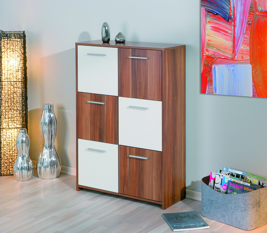 camus walnut finish and white 6 door 6 shelves sideboard