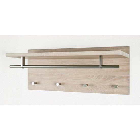 Pablo Canadian Oak Wall Mounted Coat Rack With Shelf 18150