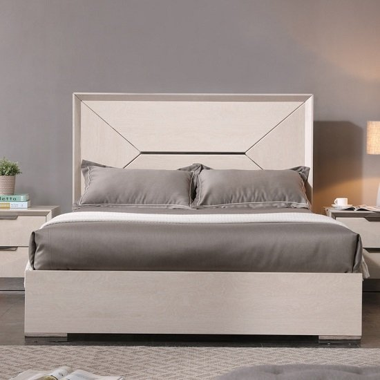Canaria King Size Bed In Cream Walnut High Gloss