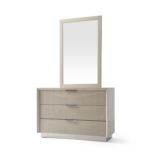 Canaria Dresser With Mirror In Cream Walnut High Gloss_2