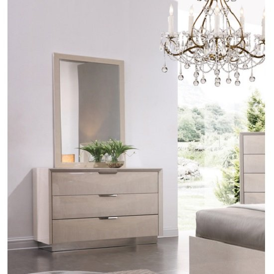Canaria Dresser With Mirror In Cream Walnut High Gloss