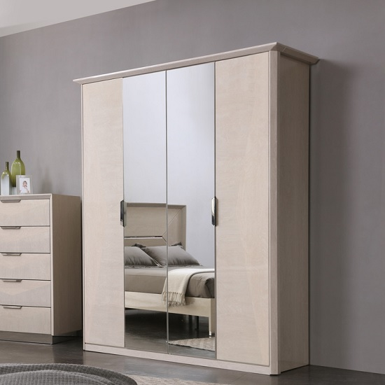 Canaria Mirrored Wardrobe In Cream Walnut High Gloss