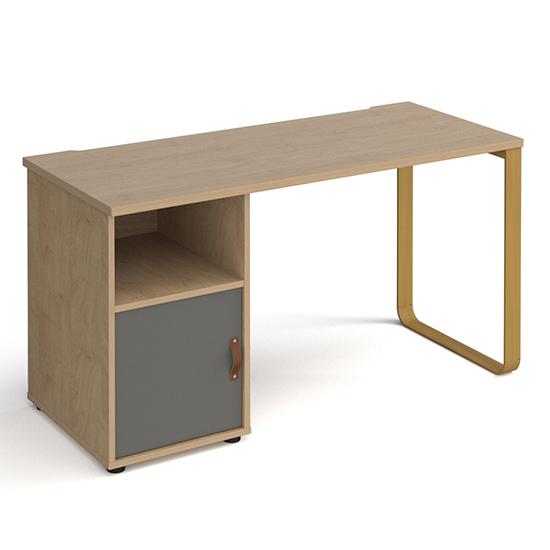 View Canary wooden computer desk in kendal oak with onyx grey door