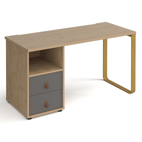 View Canary wooden computer desk in kendal oak with onyx grey drawer