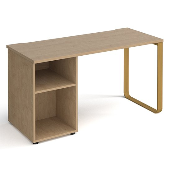 Canary Wooden Computer Desk In Kendal Oak With Shelf