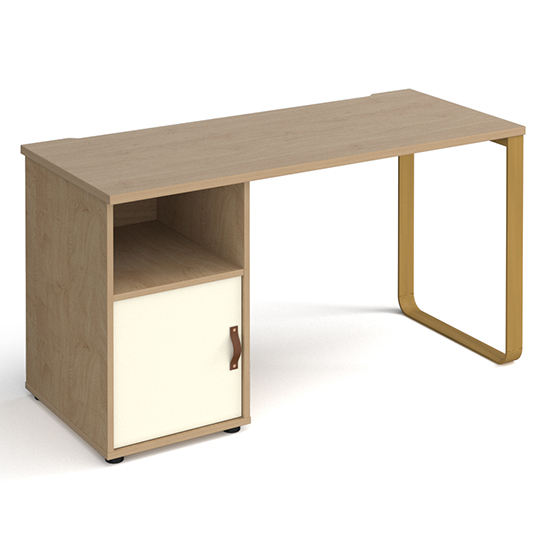 View Canary wooden computer desk in kendal oak with white door