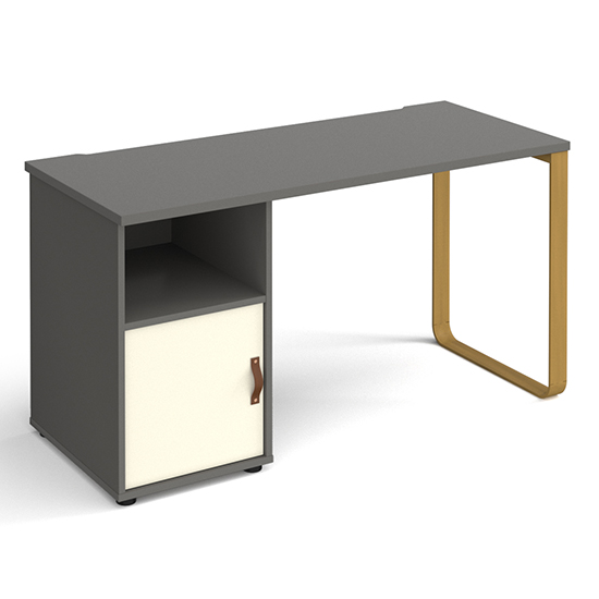 View Canary wooden computer desk in onyx grey with white door