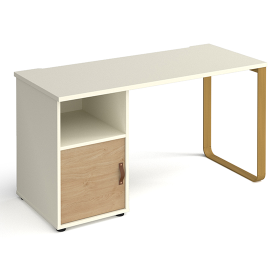 View Canary wooden computer desk in white with kendal oak door