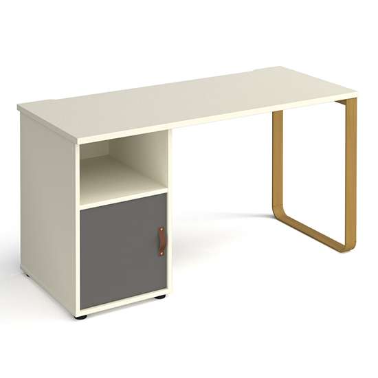 Canary Wooden Computer Desk In White With Onyx Grey Door