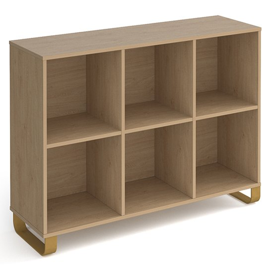 Canary Low Wooden Shelving Unit In Kendal Oak And 6 Shelves