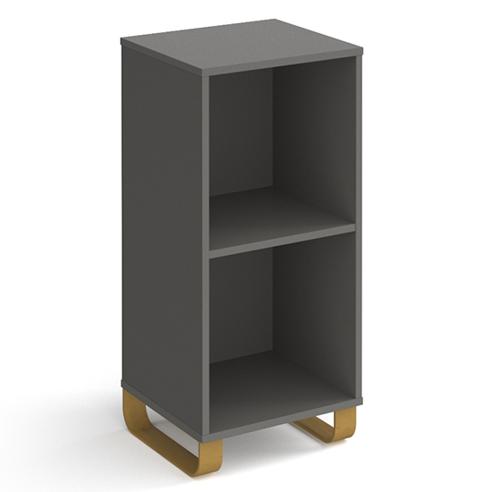 Canary Low Wooden Shelving Unit In Onyx Grey And 2 Shelves