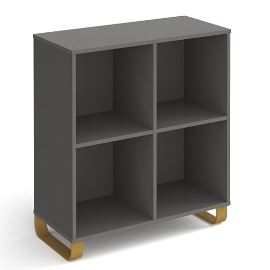Canary Low Wooden Shelving Unit In Onyx Grey And 4 Shelves