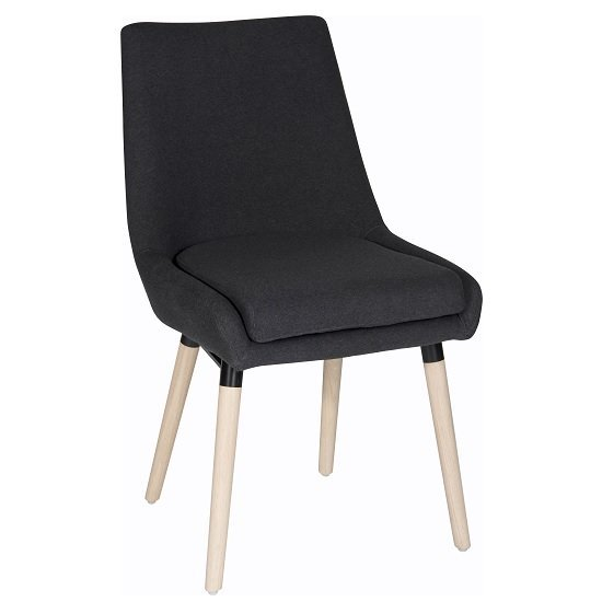 Canasta Fabric Reception Chair In Graphite With Wooden Legs