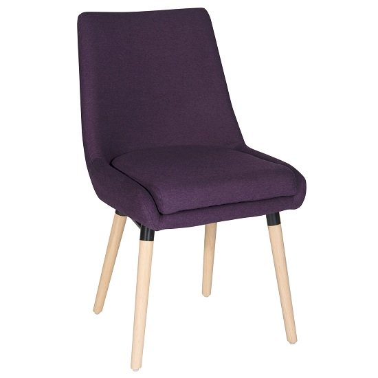 Canasta Fabric Reception Chair In Plum With Wooden Legs