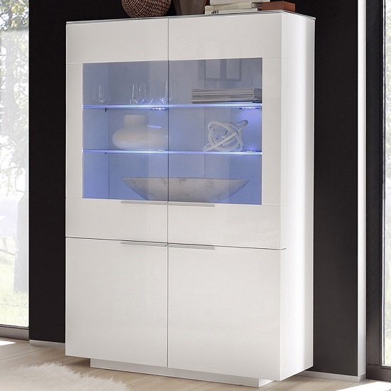 Canberra Display Cabinet In White Glass Top And High Gloss