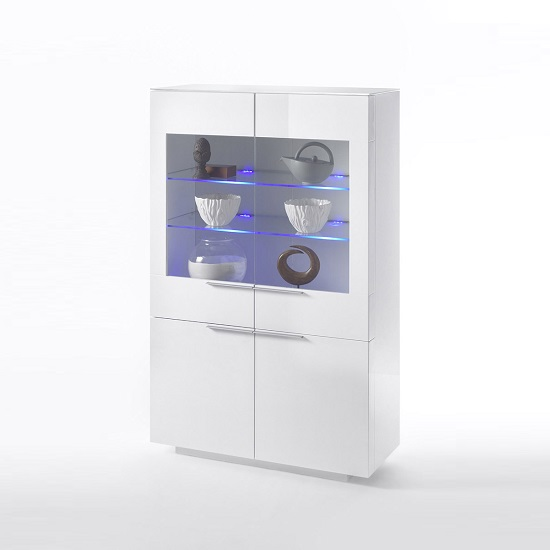 Canberra Display Cabinet In White Glass Top And High Gloss_3