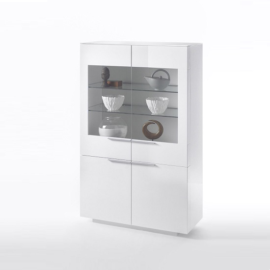 Canberra Display Cabinet In White Glass Top And High Gloss_4