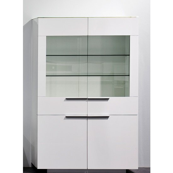 Canberra Display Cabinet In White Glass Top And High Gloss_5