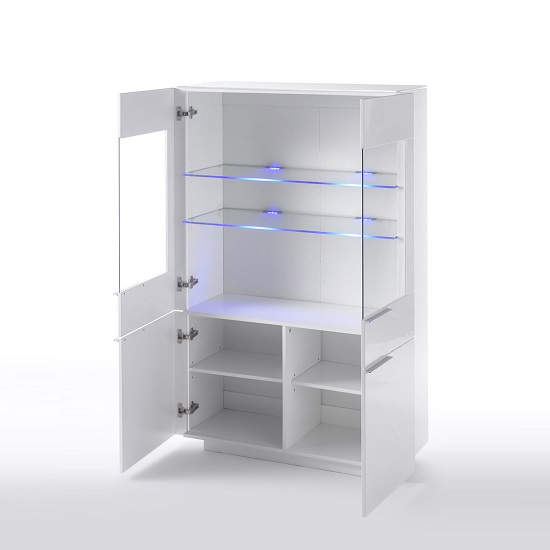 Canberra Display Cabinet In White Glass Top And High Gloss_2