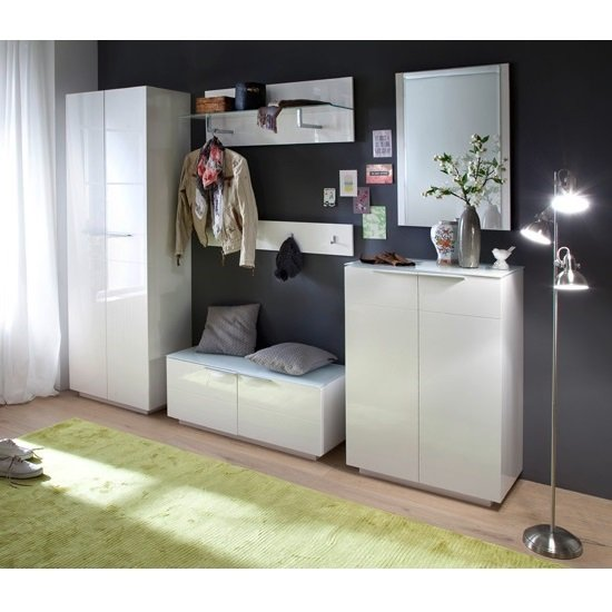 Canberra Wall Mounted Coat Rack In White Gloss With Glass Shelf_2