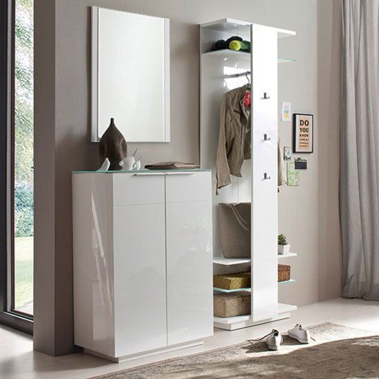 Canberra Hallway Furniture Set 2 In White High Gloss And