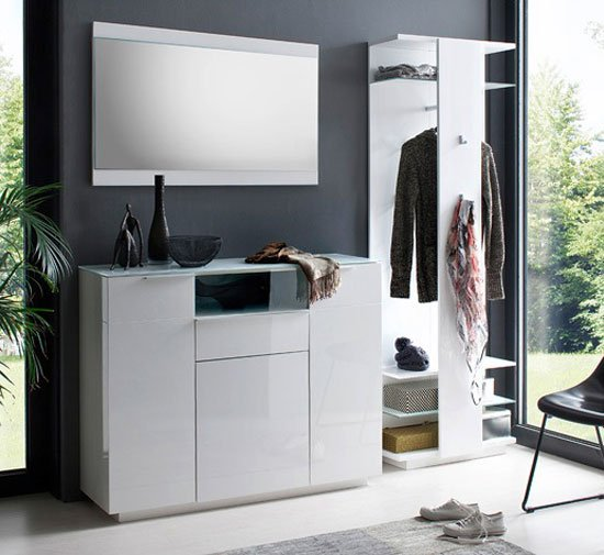 Canberra Hallway Furniture Set 3 In White High Gloss And Glass