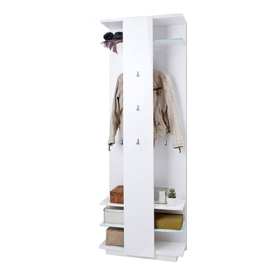 Canberra Wall Mounted Hallway Stand In White High Gloss_1