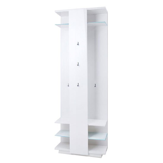 Canberra Wall Mounted Hallway Stand In White High Gloss_2