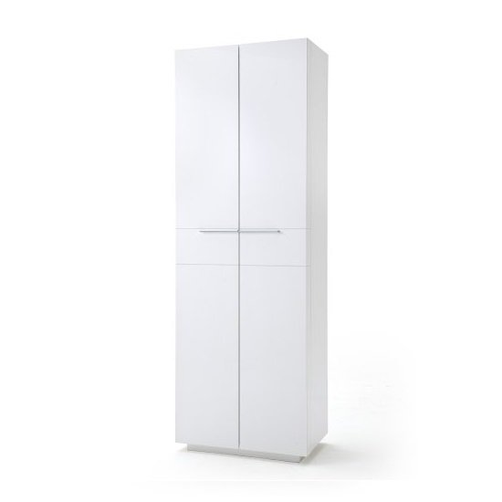 Canberra Hallway Wardrobe In White High Gloss And Glass Front