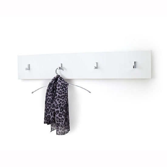Canberra Wall Mounted Coat Rack In White High Gloss With 4 Hooks