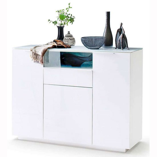 Canberra Wide Shoe Cabinet In Glass Top And White High Gloss_1