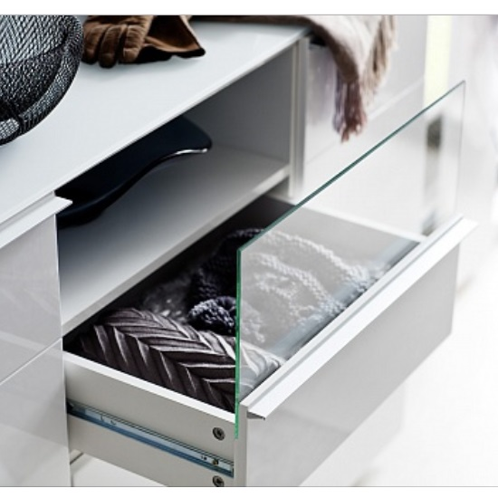 Canberra Wide Shoe Cabinet In Glass Top And White High Gloss_4