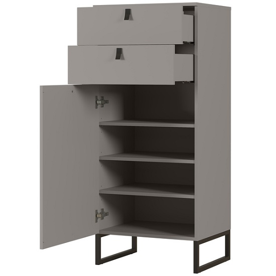 Cancun Narrow Shoe Storage Cabinet In Stone Grey Finish_2