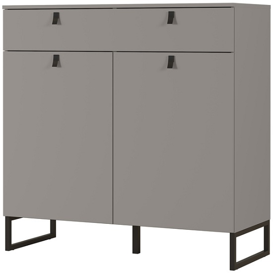 Cancun Wide Shoe Storage Cabinet In Stone Grey Finish_1